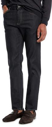 Canali Men's Charcoal-Wash Stretch-Denim Jeans