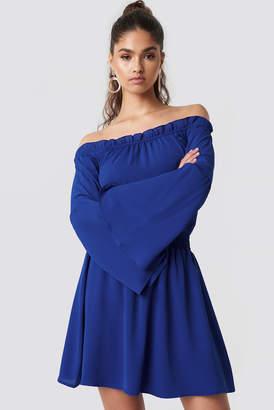 Na Kd Boho Wide Sleeve Off Shoulder Dress Blue