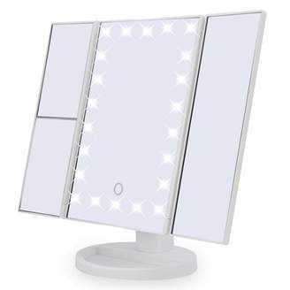 HURRISE 22 LED Lights Tri-Fold Makeup Mirror,2X 3X Magnification Touch Screen Desktop Vanity Makeup Mirror,White