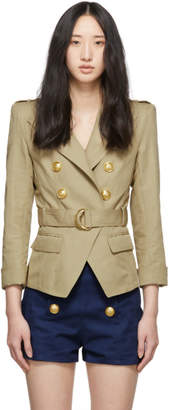 Balmain Beige Cotton and Linen Blazer