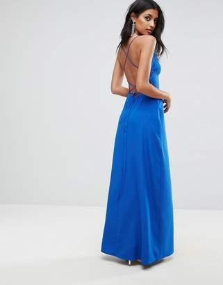 Asos DESIGN Deep Plunge Tie Back Cami Maxi Dress