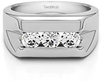 TwoBirch Brilliant Moissanite Mounted in Sterling Silver Moissanite Men's Wedding Ring Featuring Milgrain Design(0.89crt)