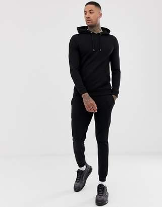 949d28f38ea Asos Design DESIGN tracksuit muscle hoodie/super skinny joggers in black