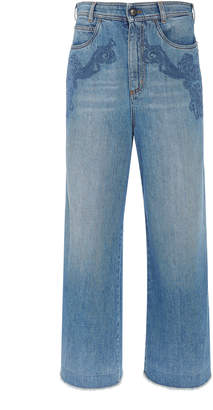 Etro Dorset Embroidered High-Rise Cropped Jeans