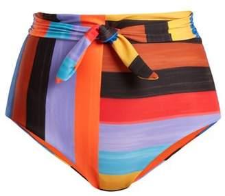 Mara Hoffman Jay High Waist Striped Bikini Briefs - Womens - Black Multi