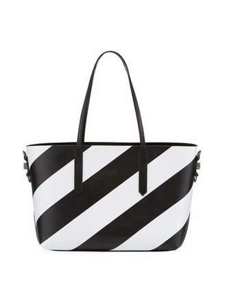 Off-White Medium Diagonal Striped Leather Tote Bag