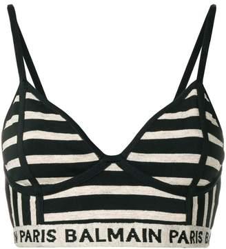Balmain striped woven bralet