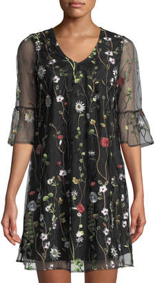 Neiman Marcus Embroidered Mesh A-line Dress