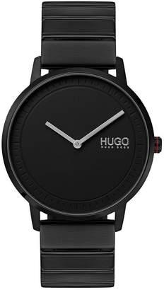 Echo Black Round Dial Black Stainless Steel Bracelet Mens Watch