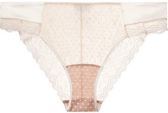 La Perla Marble Mood Satin-trimmed Embroidered Printed Stretch-tulle Briefs - Blush