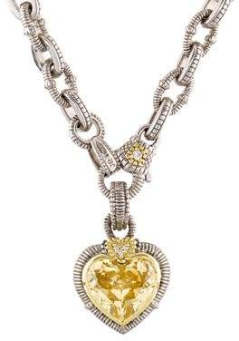Judith Ripka Canary Crystal & Diamond Heart Pendant Necklace
