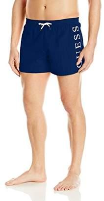 GUESS Men's Side Logo 13 inch Elastic Waist Swim Trunk
