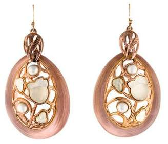 Alexis Bittar Lucite & Faux Pearl Drop Earrings