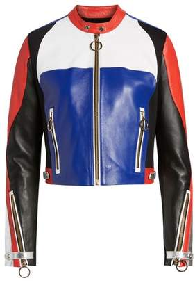 Tommy Jeans x Gigi Hadid Colorblock Leather Moto Jacket