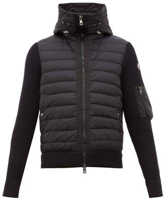 Moncler Hooded Quilted And Knitted Cardigan - Mens - Black