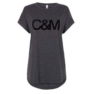 Camilla And Marc C & M Black Logo Roll Sleeve Tee