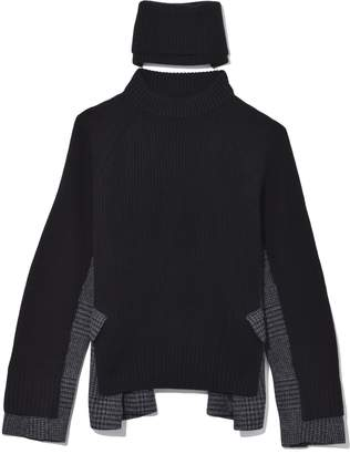 Sacai Knit Glencheck Pullover in Black/Navy
