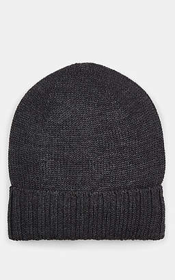 Barneys New York MEN'S RIB-KNIT WOOL BEANIE - GRAY