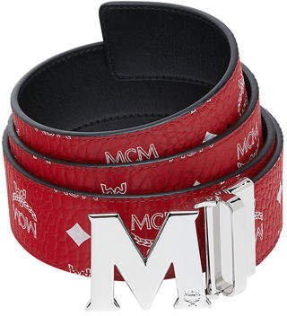 MCM Men's Visetos Reversible M-Buckle Monogram Belt