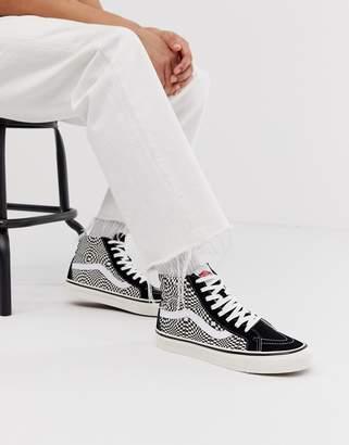 Vans Anaheim Sk8-Hi checkerboard sneakers in black