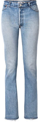 RE/DONE Levi's Distressed High-rise Straight-leg Jeans - Light blue