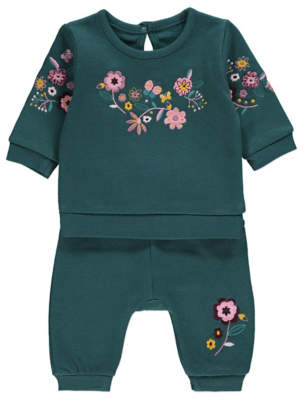 George Green Floral Embroidered Sweatshirt and Joggers Outfit