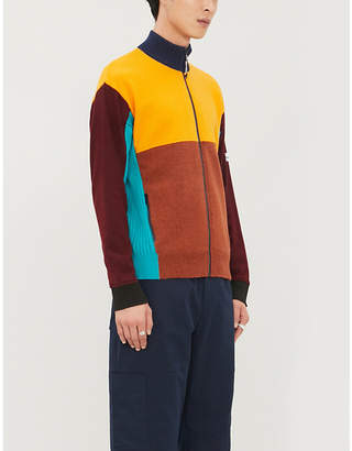 Kenzo Colour-block high-neck wool-blend cardigan