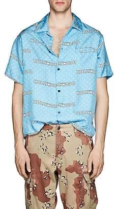 "Amiri Men's ""Hollywood"" Dot-Print Twill Shirt - Lt. Blue"