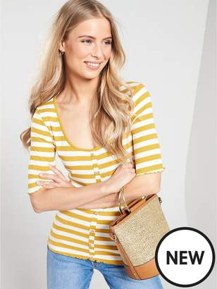 Warehouse Stripe Rib Button Through Jersey Top - Mustard