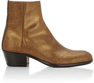 Maison Margiela Women's Metallic Suede Ankle Boots-BROWN $980 thestylecure.com