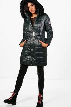 boohoo High Shine Padded Belted Coat