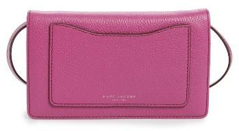 Women's Marc Jacobs 'Recruit' Pebbled Leather Crossbody Wallet - Purple