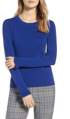 Halogen Scallop Trim Sweater (Regular & Petite)