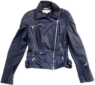 Karen Millen Navy Leather Jacket for Women