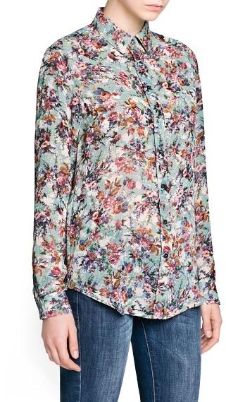 MANGO Outlet Floral Print Chiffon Shirt