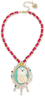 Betsey Johnson Gold-Tone Multi-Stone & Imitation Pearl Poodle Cameo Pendant Necklace