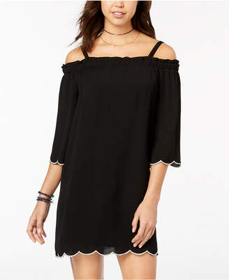 As U Wish Juniors' Scalloped Off-The-Shoulder Dress