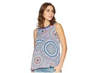 Tribal Printed Jersey Sleeveless Cami with Fringe Neckline Women's Sleeveless