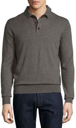 Neiman Marcus Cashmere Long-Sleeve Polo Sweater, Dark Smoke $325 thestylecure.com