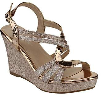Forever FQ22 Women's Glitter Strappy Wrapped Wedge Heel Platform Sandals, Color , Size:10