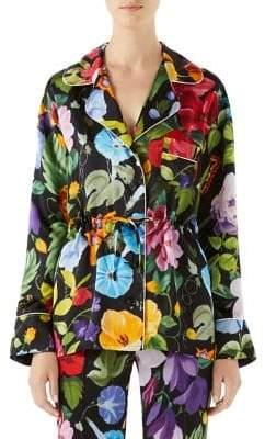 Gucci Silk Tie-Waist Pajama Blouse