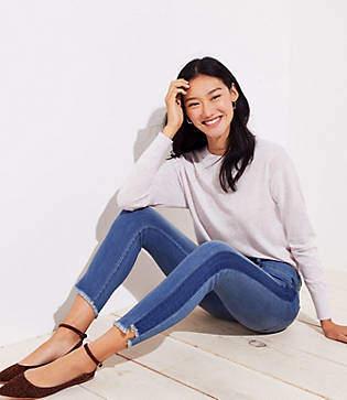 LOFT Petite Modern Step Hem Skinny Jeans in Shadow Stripe Wash