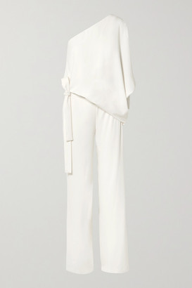 Halston One-shoulder Crepe Jumpsuit - Off-white