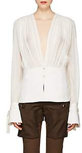 Chloé Women's Gathered Silk V-Neck Peplum Blouse - Cream