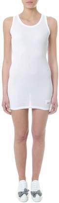 Miu Miu White Cotton Long Line Tank Top