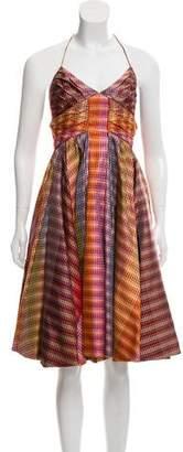 Zac Posen Silk Printed Halter Dress