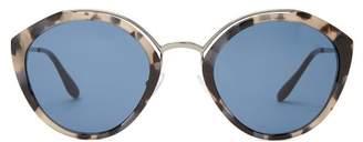 Prada Round Frame Tortoiseshell Sunglasses - Womens - Tortoiseshell