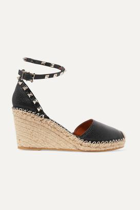 Valentino Garavani The Rockstud Textured-leather Espadrille Wedge Sandals - Black