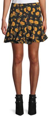 Veronica Beard Weller Floral-Print Flounce Mini Skirt