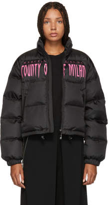 Marcelo Burlon County of Milan Black Down Sleepwalker Jacket